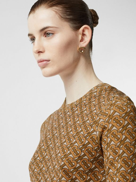 Monogram Print Merino Wool Top in Beige - Women | Burberry Australia - cell image 1