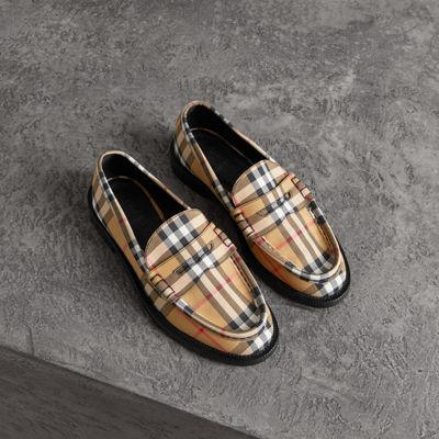 Tartan Cotton Penny Loafers - Yellow & Orange Burberry L2RcUiWlPp