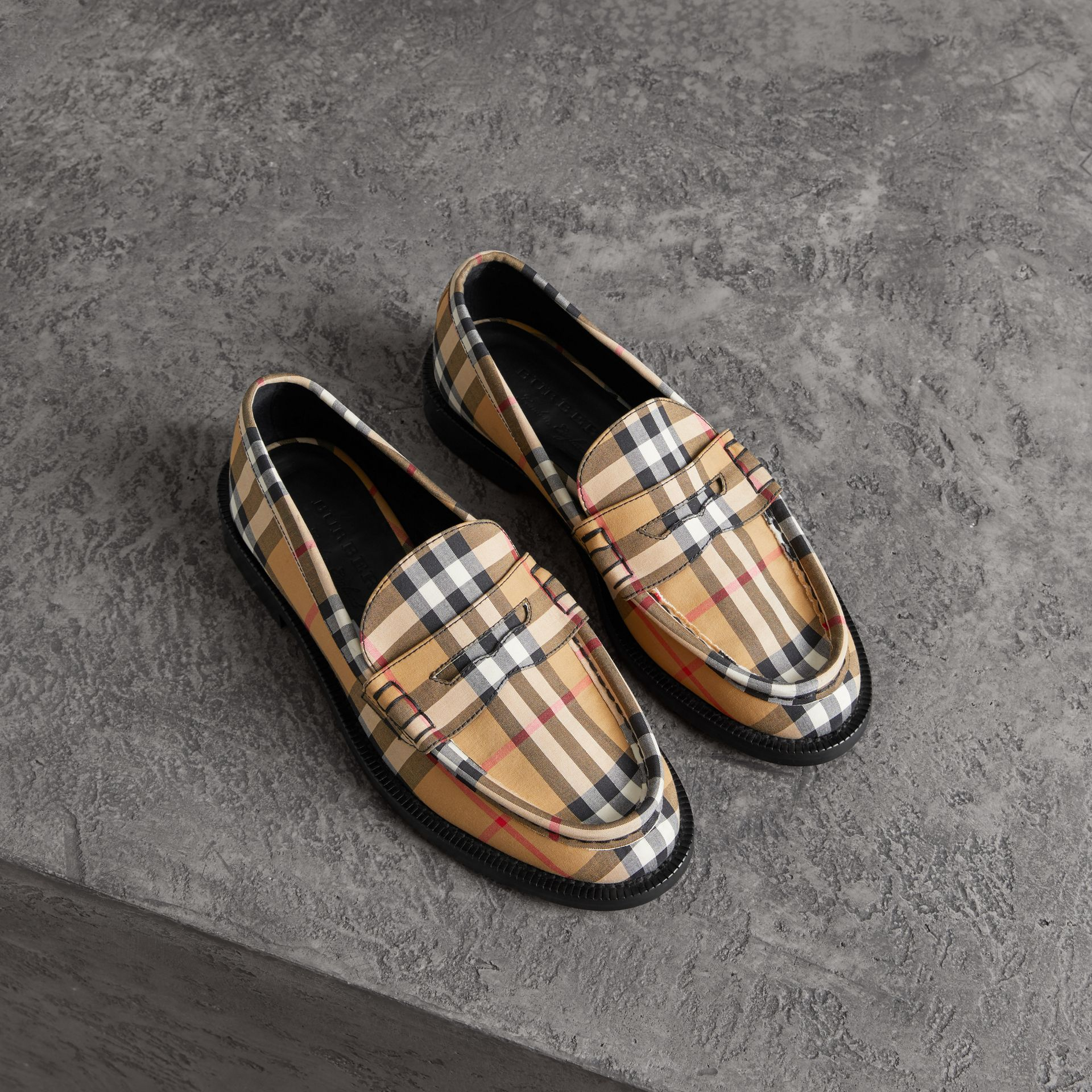Vintage Check Cotton Penny Loafers in Antique Yellow - Women | Burberry - gallery image 0