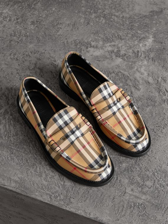 Vintage Check Cotton Penny Loafers in Antique Yellow