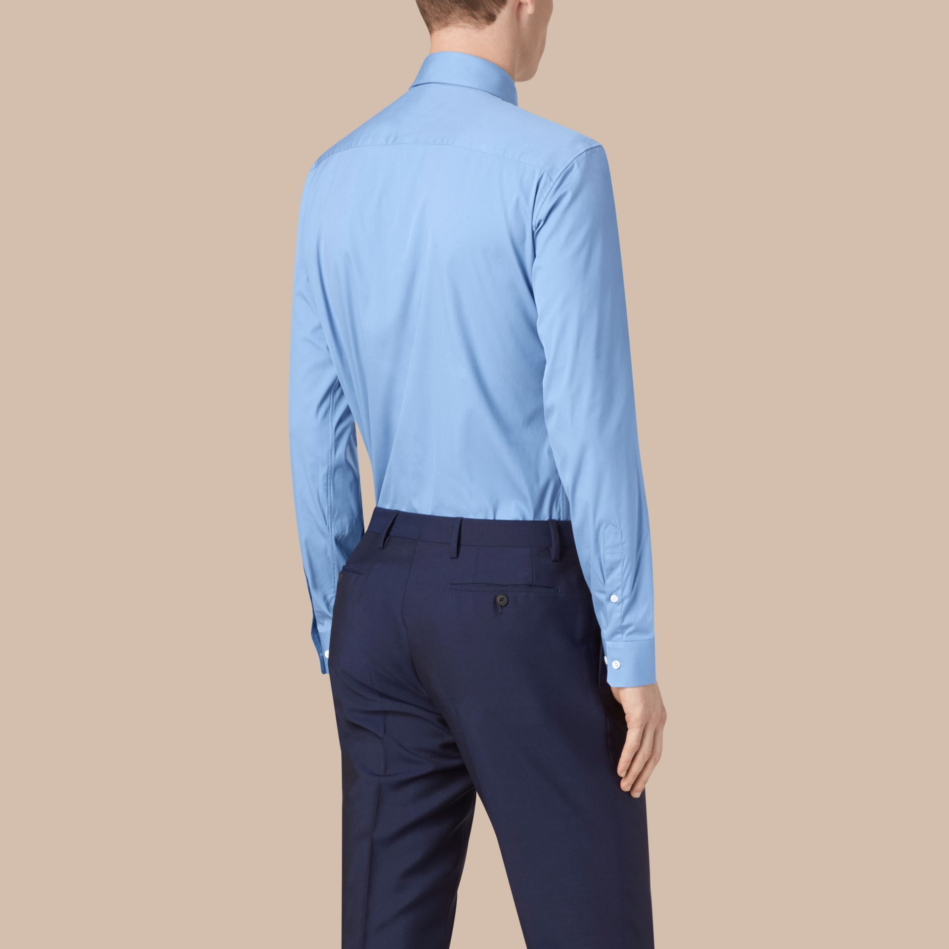 Modern Fit Stretch Cotton Shirt Mid Blue - gallery image 3