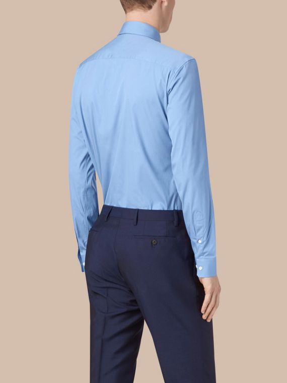Mid blue Modern Fit Stretch Cotton Shirt Mid Blue - cell image 2