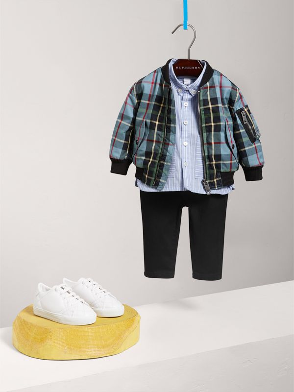 Tartan Padded Cotton Gabardine Bomber Jacket in Cyan Blue | Burberry United Kingdom - cell image 2