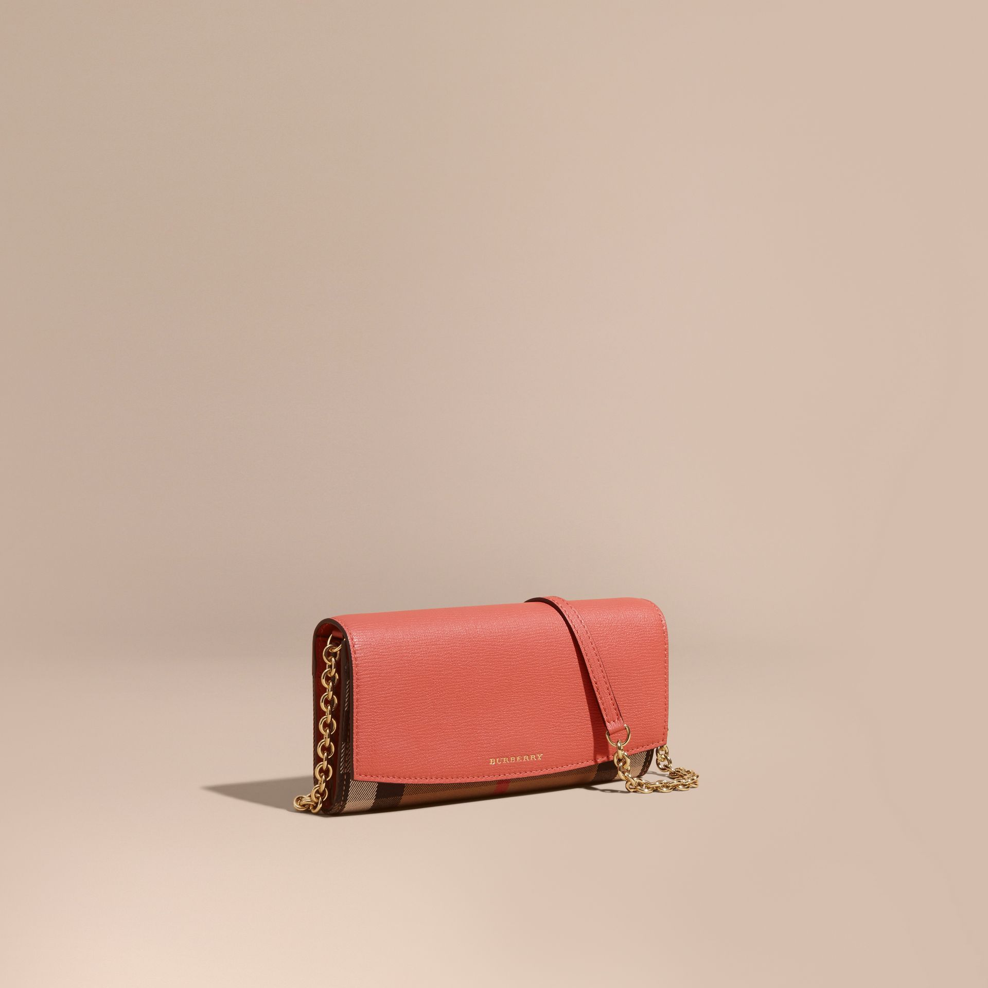 House Check and Leather Wallet with Chain in Cinnamon Red - Women | Burberry - gallery image 0