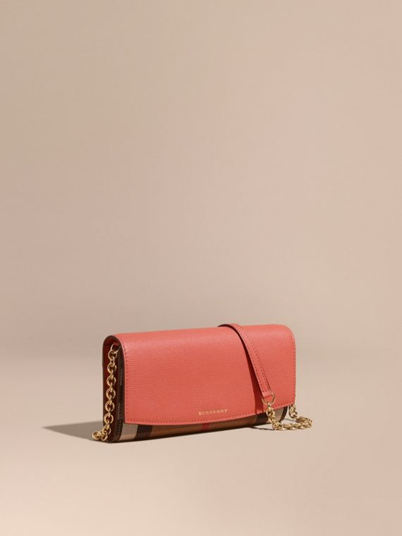 House Check and Leather Wallet with Chain in Cinnamon Red - Women | Burberry Canada