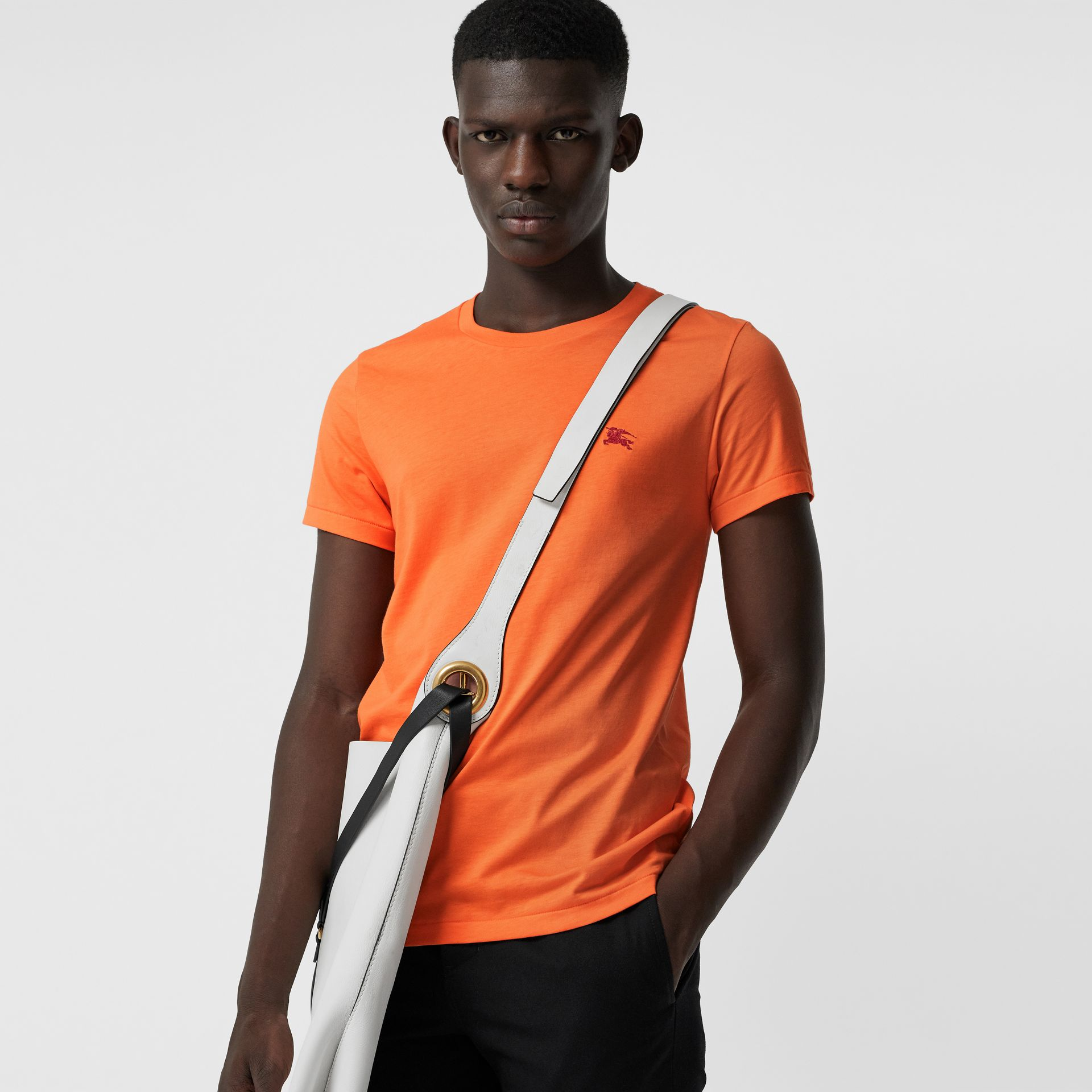 Cotton Jersey T-shirt in Bright Orange - Men | Burberry - gallery image 0