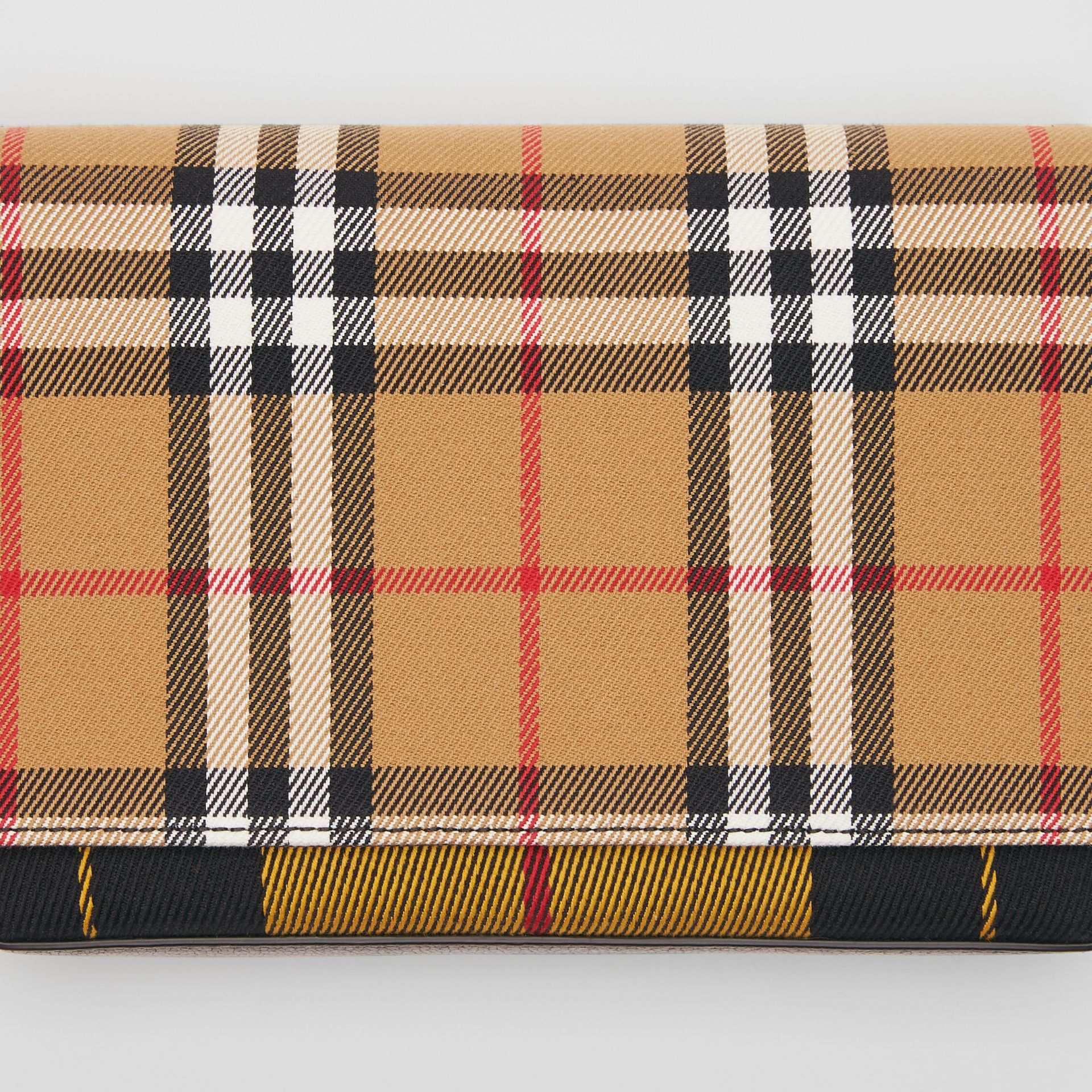 Vintage Check and Leather Wallet with Detachable Strap in Antique Yellow/black - Women | Burberry Australia - gallery image 1