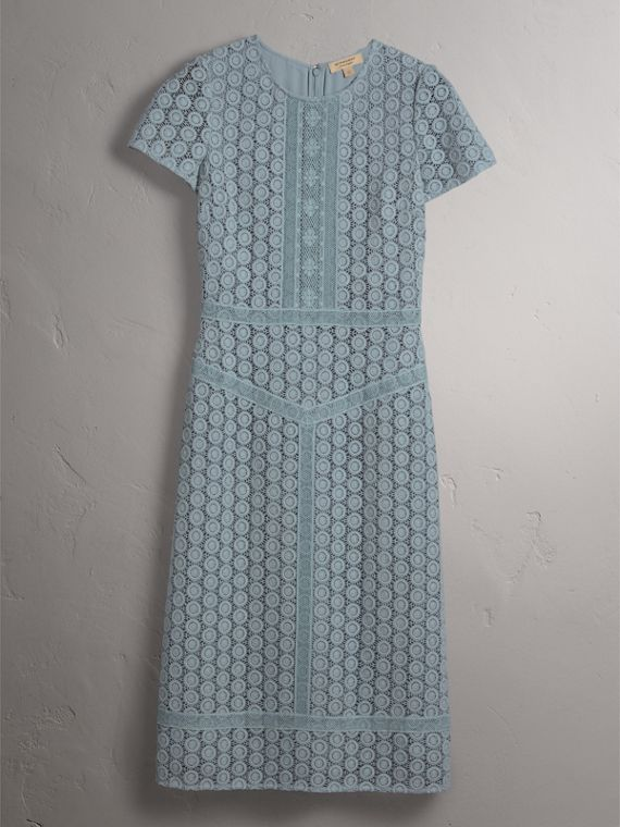 Geometric Lace Cotton Sheath Dress in Pale Slate Blue - Women | Burberry - cell image 3