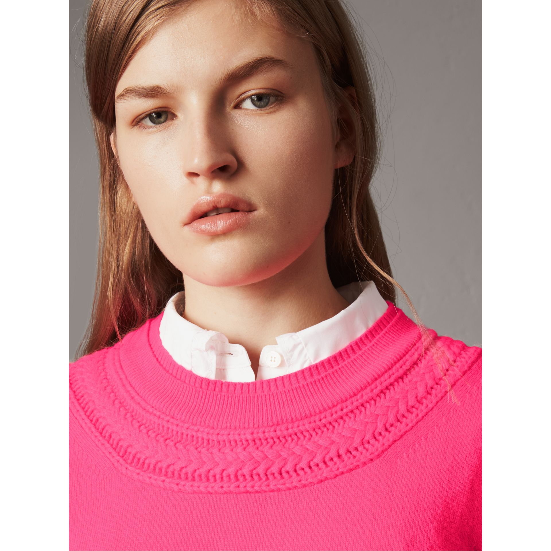 Cable Knit Yoke Cashmere Sweater in Bright Rose Pink - Women | Burberry - gallery image 1