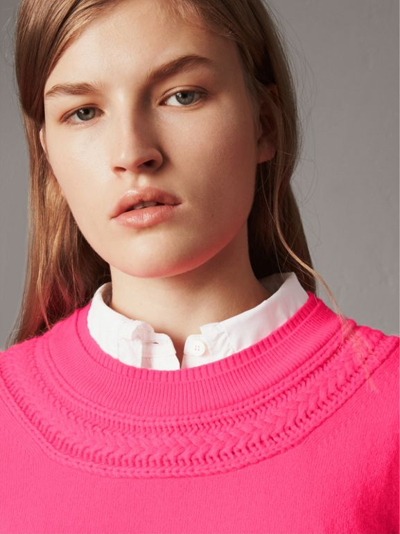 Cable Knit Yoke Cashmere Sweater in Bright Rose Pink - Women | Burberry - cell image 1
