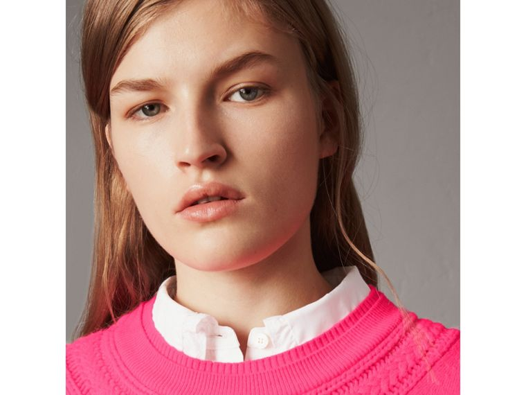 Cable Knit Yoke Cashmere Sweater in Bright Rose Pink - Women | Burberry United Kingdom - cell image 1