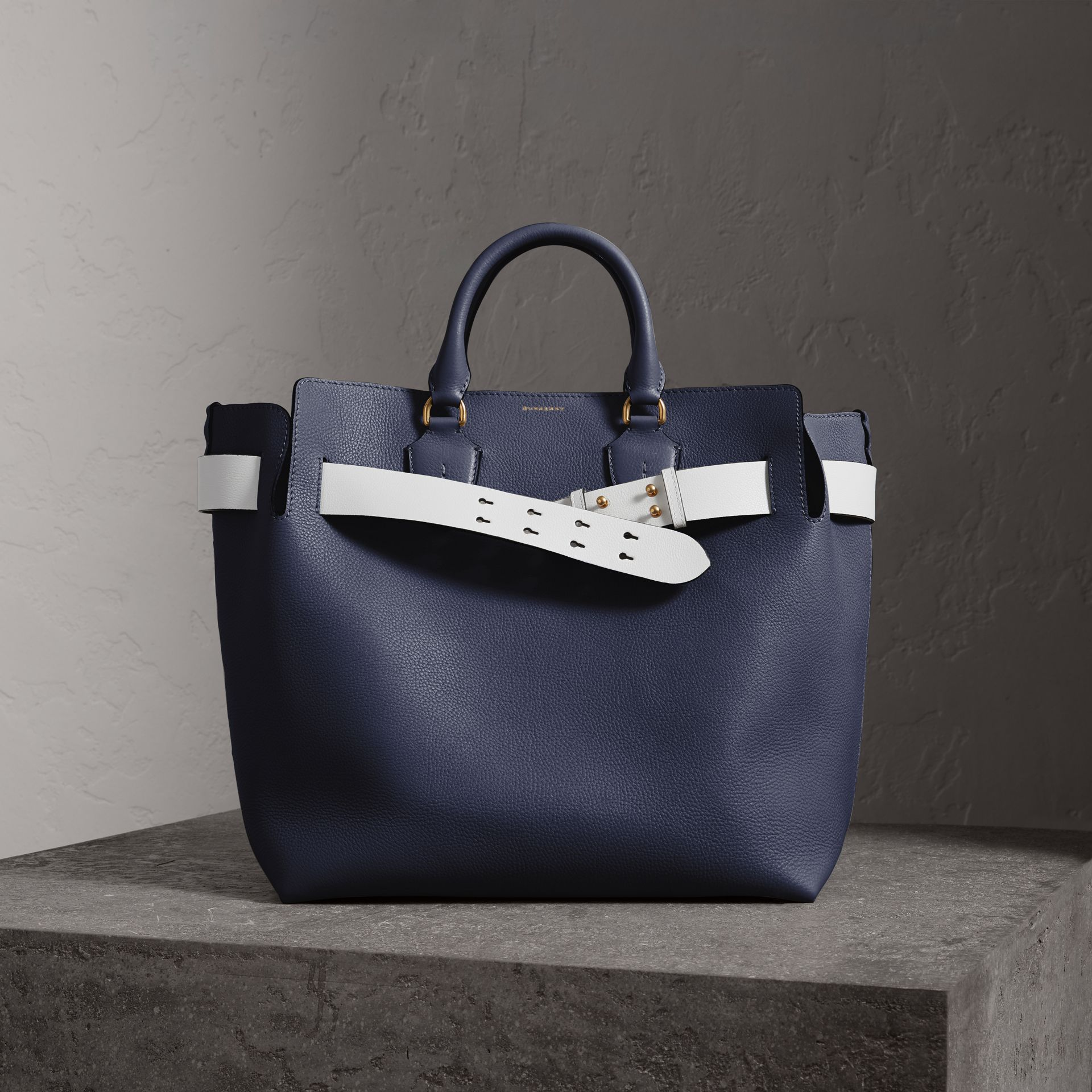 The Large Leather Belt Bag in Regency Blue | Burberry Singapore - gallery image 0
