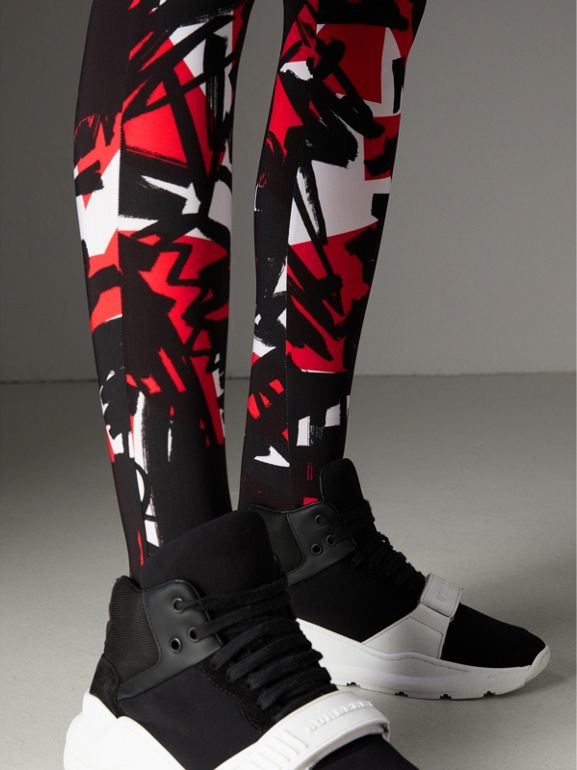 Graffiti Print Leggings in Bright Red - Women | Burberry - cell image 1