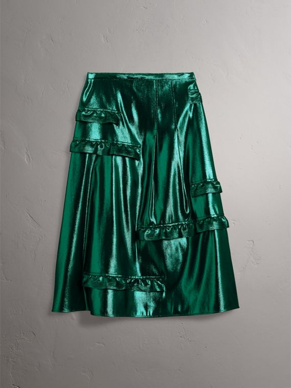 Ruffle Detail Lamé Skirt – Online Exclusive in Turquoise - Women | Burberry - cell image 3