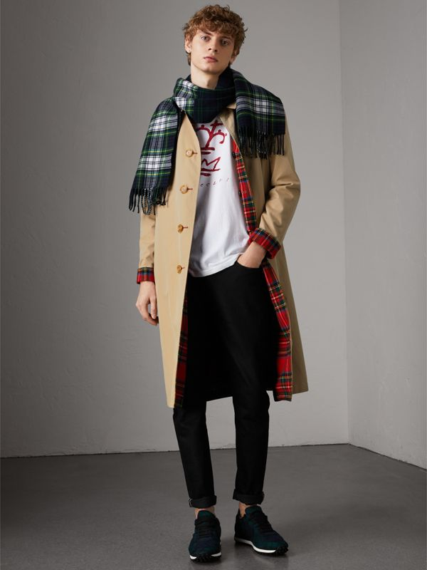 Check Merino Wool Scarf in Ink Blue | Burberry - cell image 3