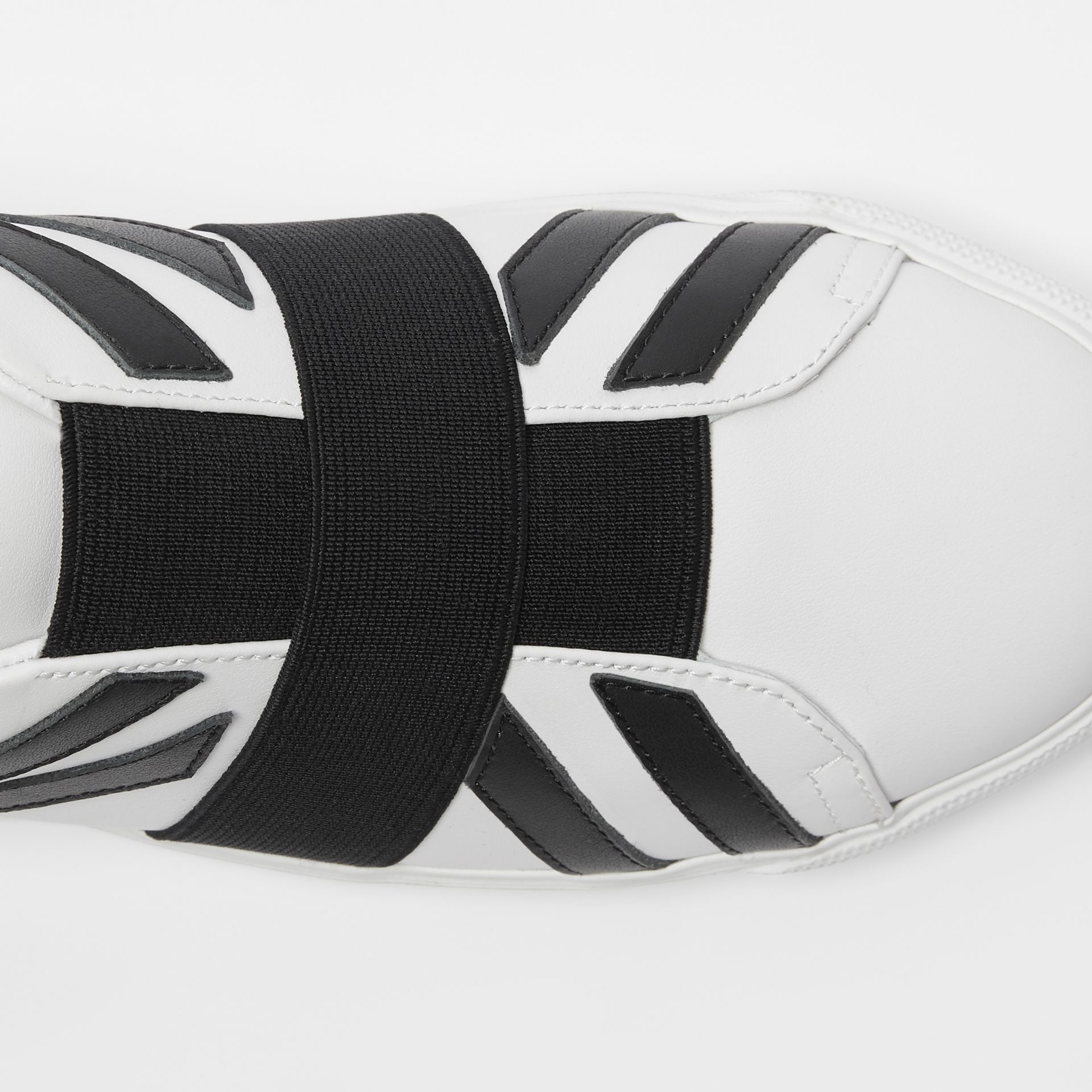 Union Jack Motif Slip-on Sneakers in Optic White/black - Women | Burberry Singapore - gallery image 1