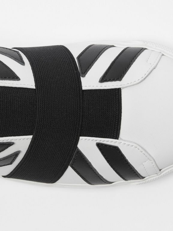 Union Jack Motif Slip-on Sneakers in Optic White/black - Women | Burberry United Kingdom - cell image 1