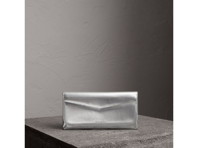 Metallic Trench Leather Envelope Wallet in Silver - Women | Burberry - cell image 4