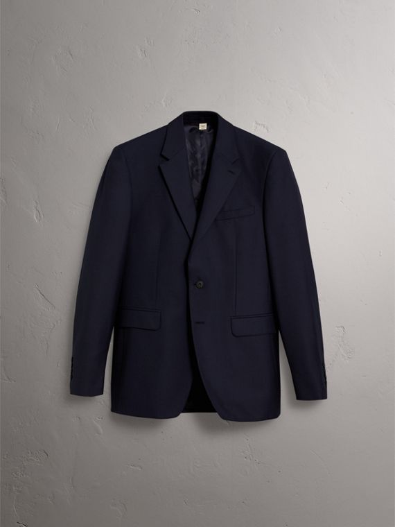 Classic Fit Wool Part-canvas Suit in Navy - Men | Burberry Hong Kong - cell image 3