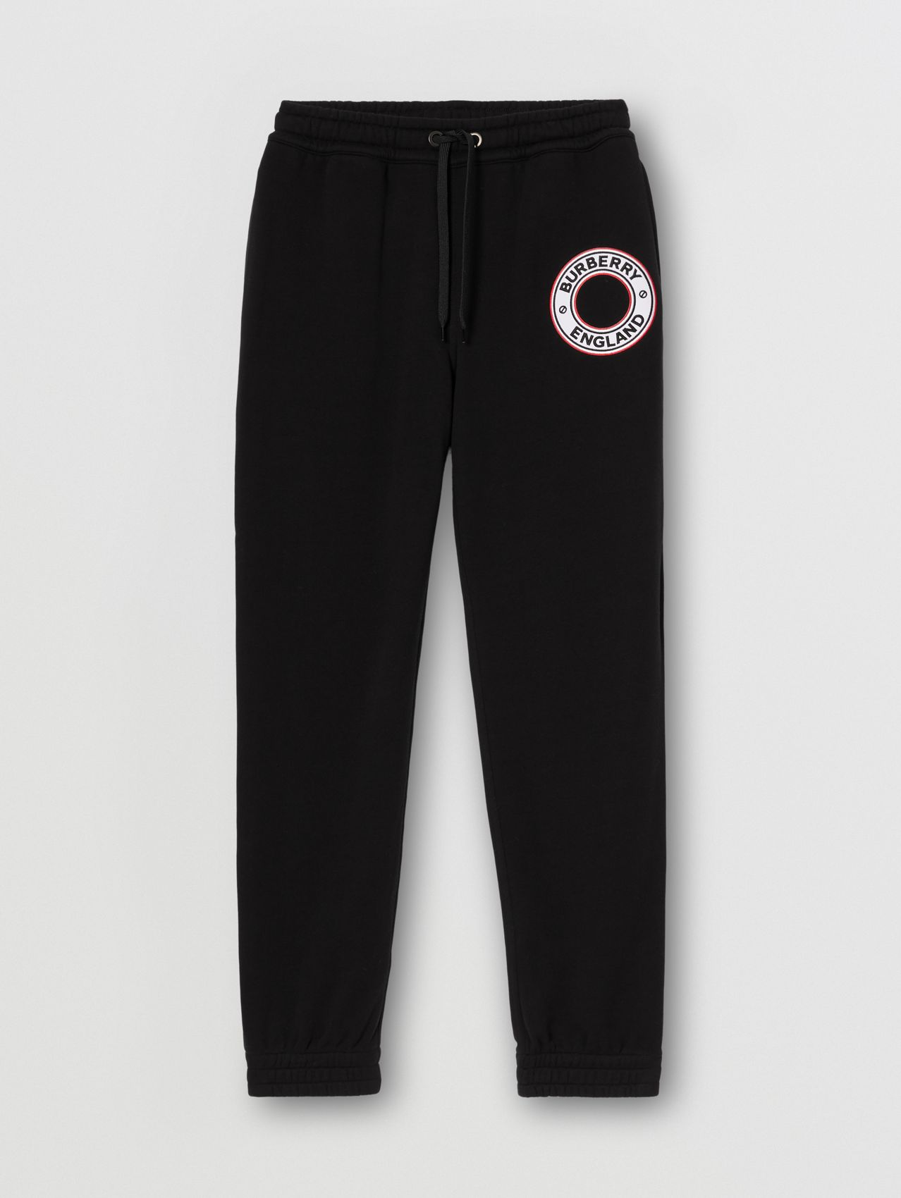 Logo Graphic Appliqué Cotton Jogging Pants in Black