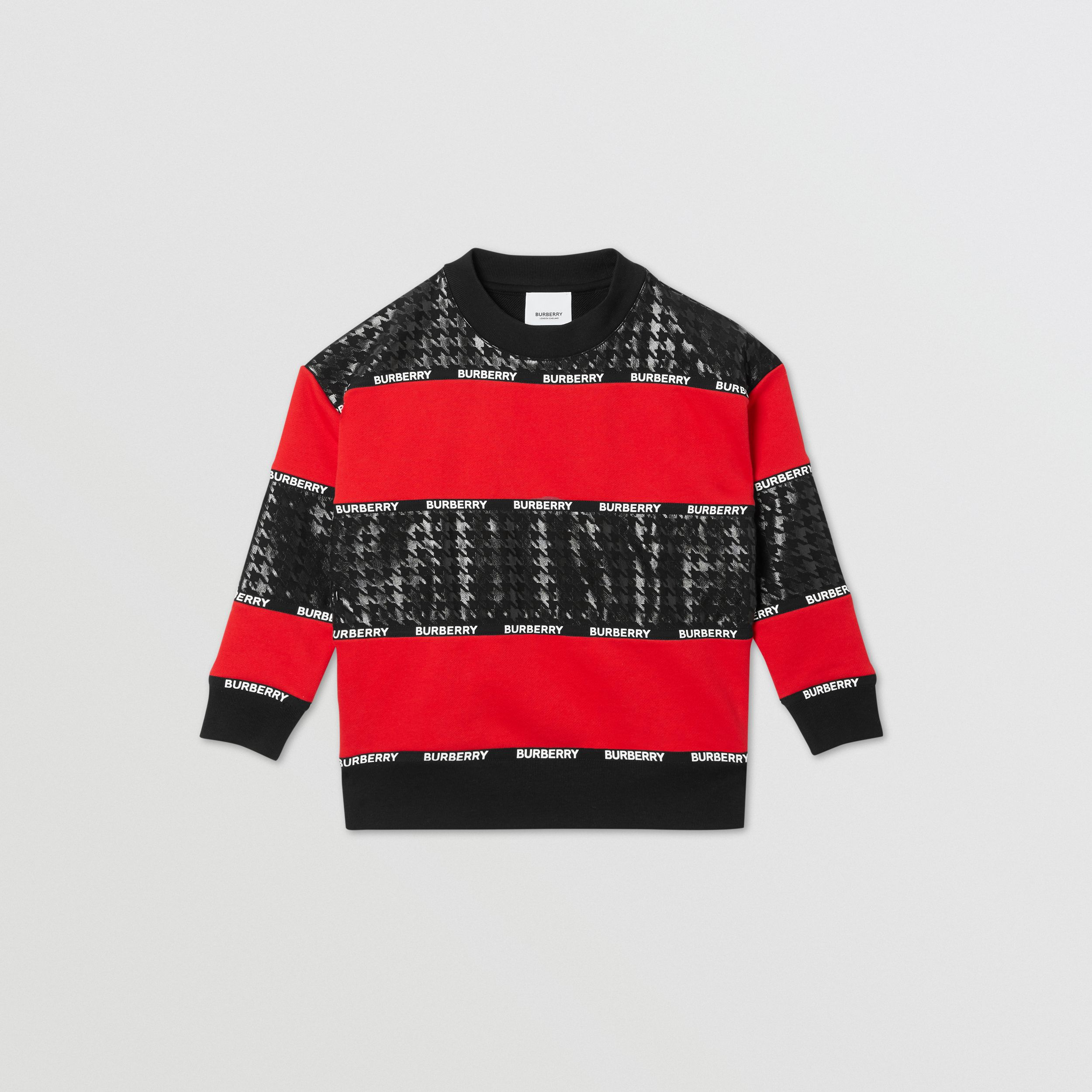 Houndstooth Check Panel Cotton Sweatshirt in Bright Red | Burberry - 1