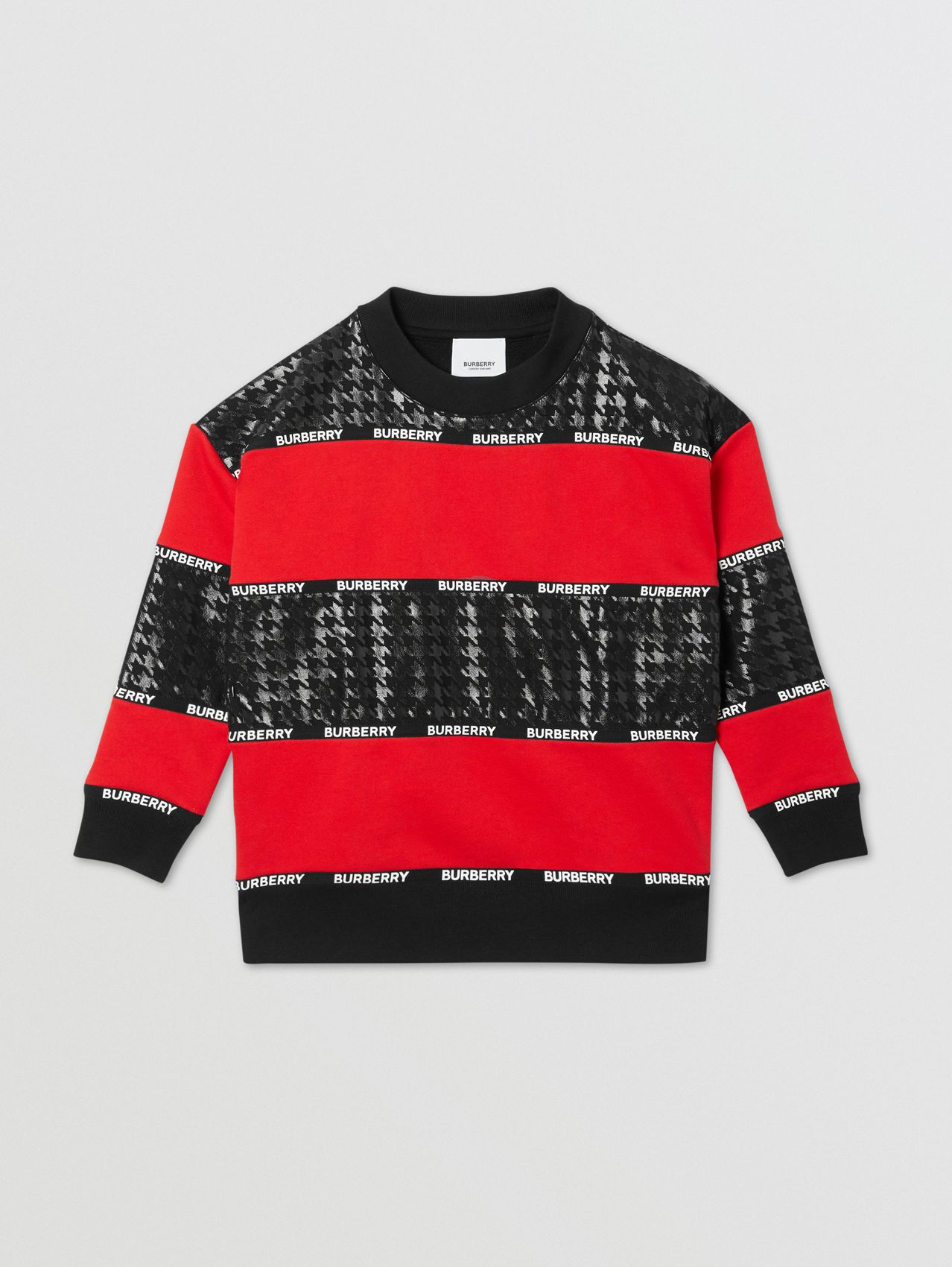 Houndstooth Check Panel Cotton Sweatshirt in Bright Red
