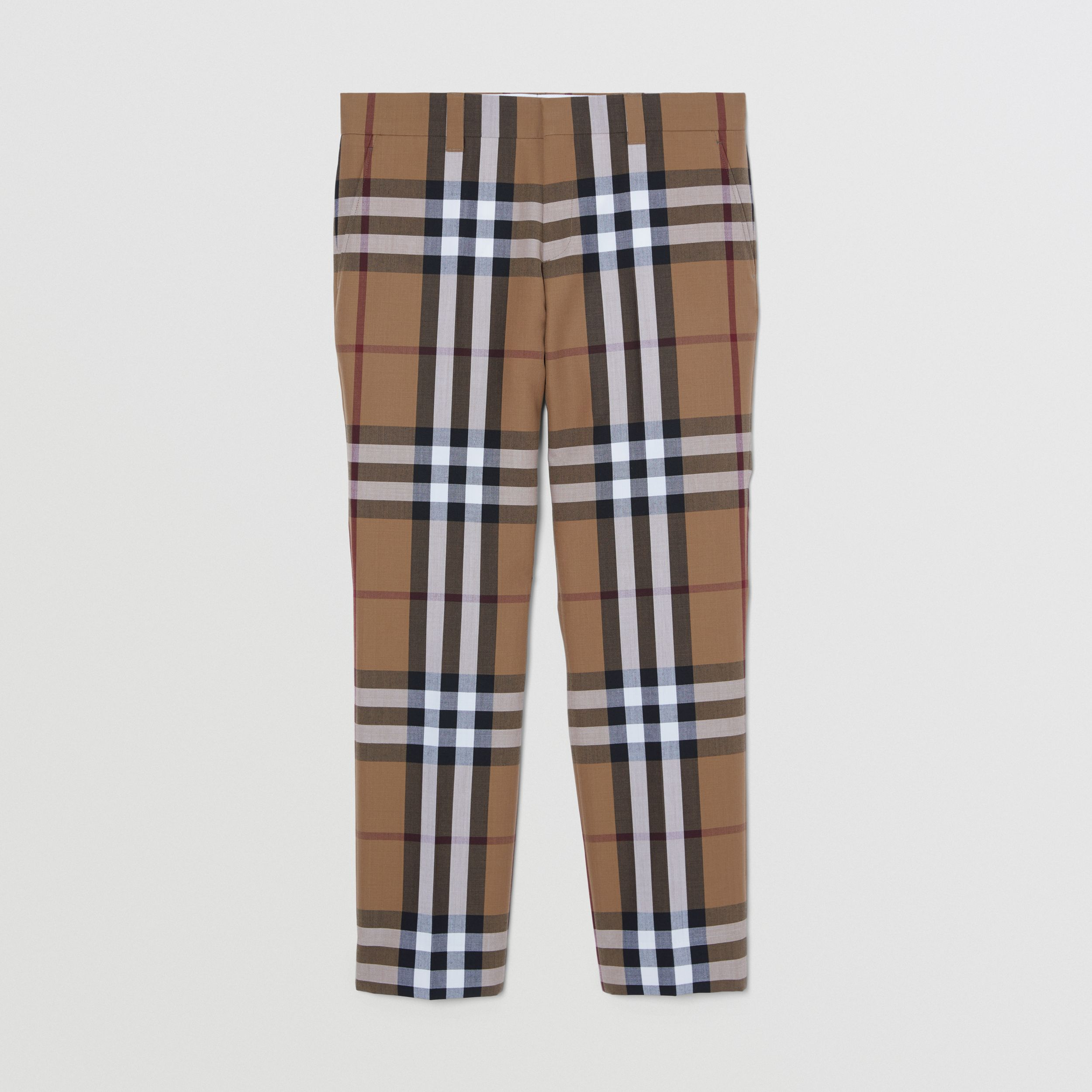 Check Wool Cropped Tailored Trousers in Birch Brown - Men | Burberry United Kingdom - 4