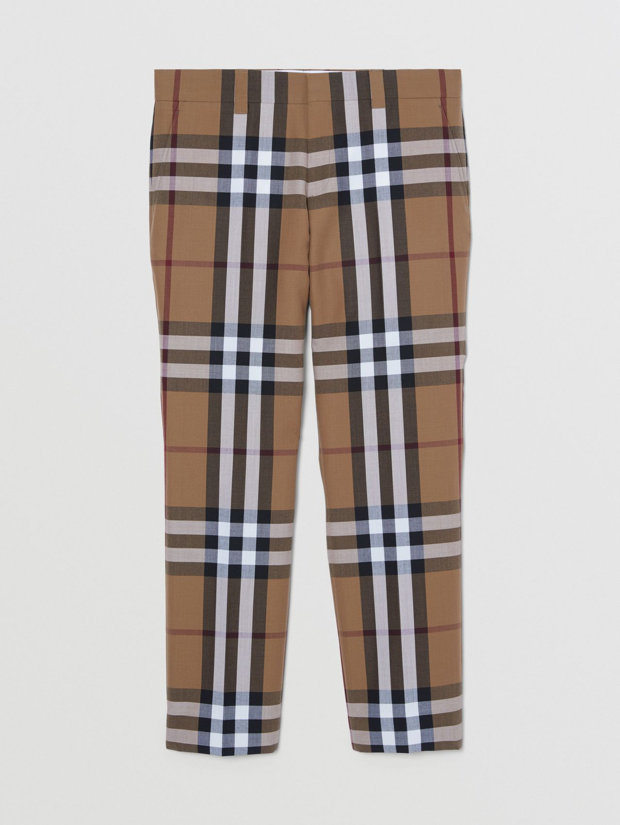 Check Wool Cropped Tailored Trousers in Birch Brown