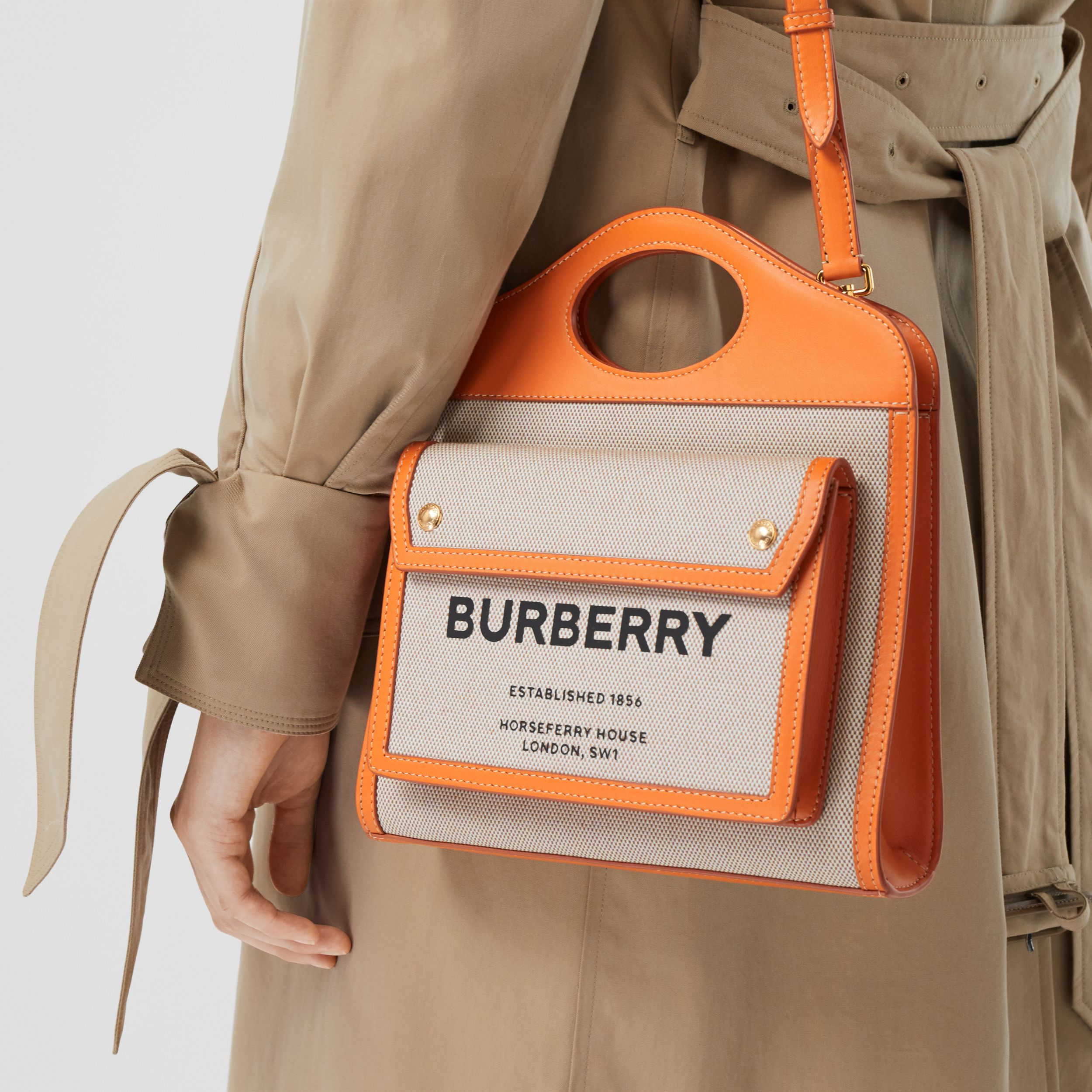Mini Two-tone Canvas and Leather Pocket Bag in Orange - Women | Burberry - 3