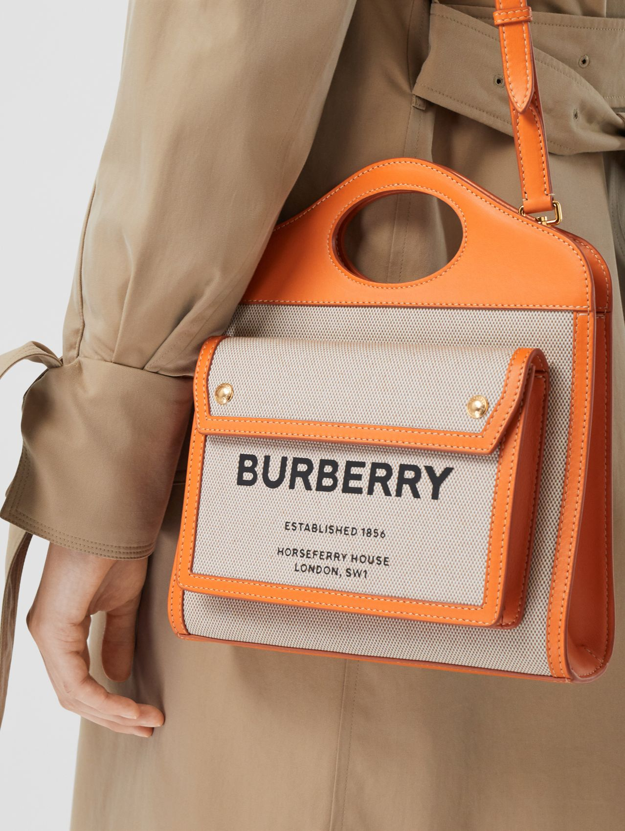Mini Two-tone Canvas and Leather Pocket Bag in Orange
