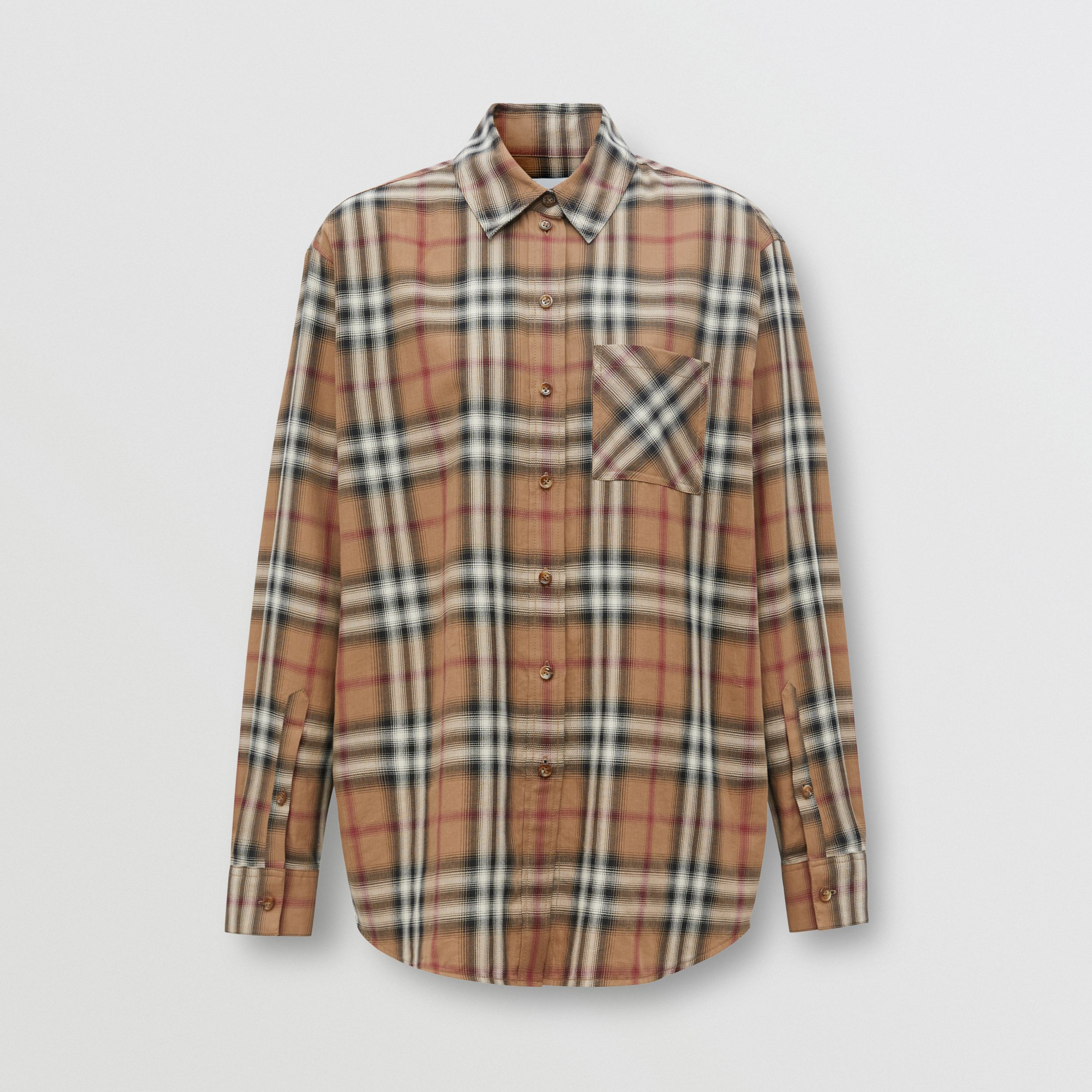 Ombré Check Cotton Twill Oversized Shirt in Birch Brown - Women | Burberry - 4