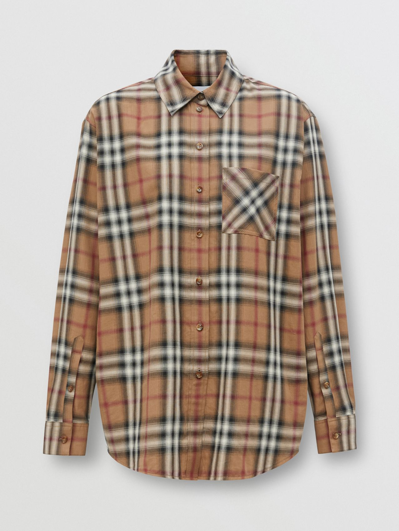 Ombré Check Cotton Twill Oversized Shirt in Birch Brown