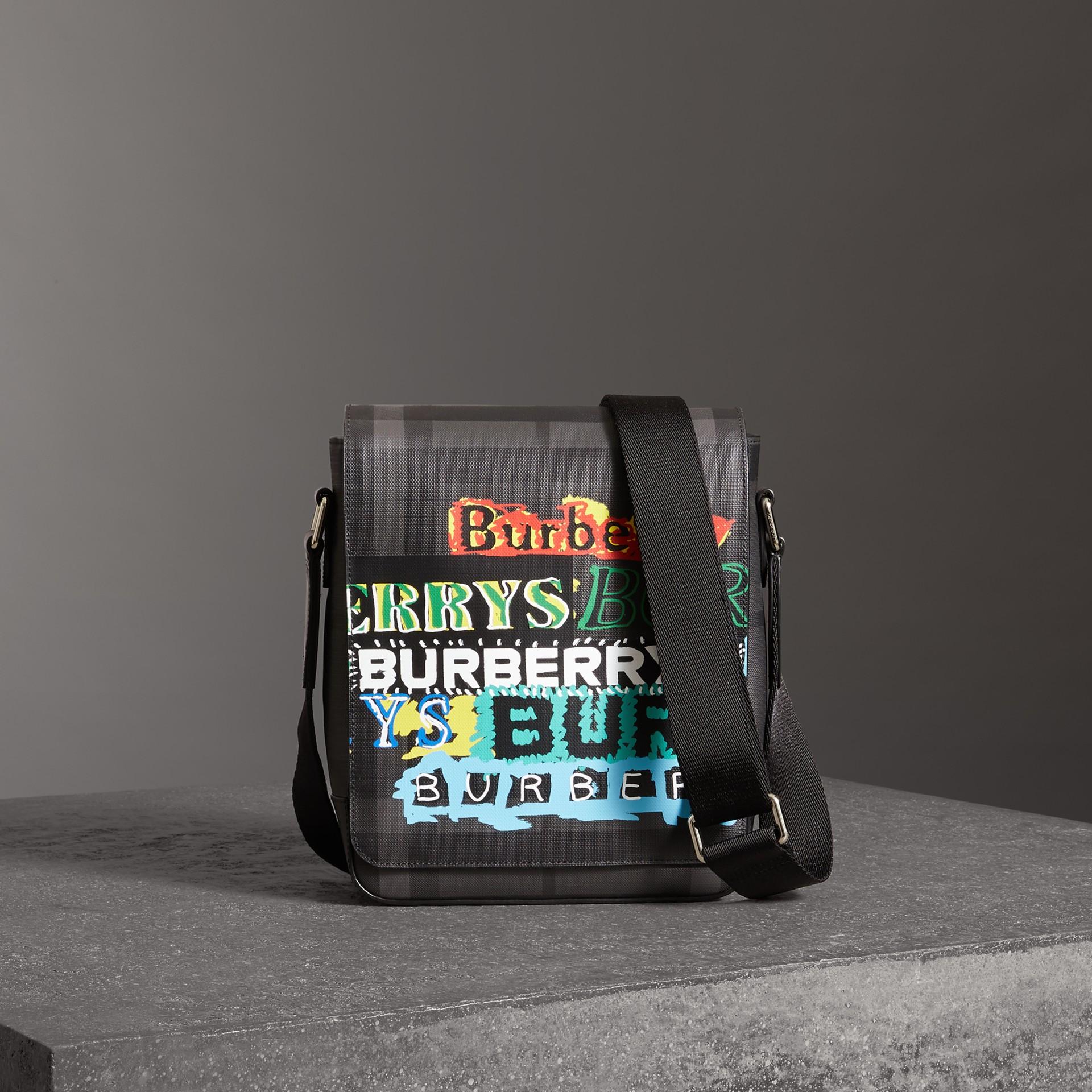 301e2e9edf1b Burberry Tag Print London Check Crossbody Bag In Grey