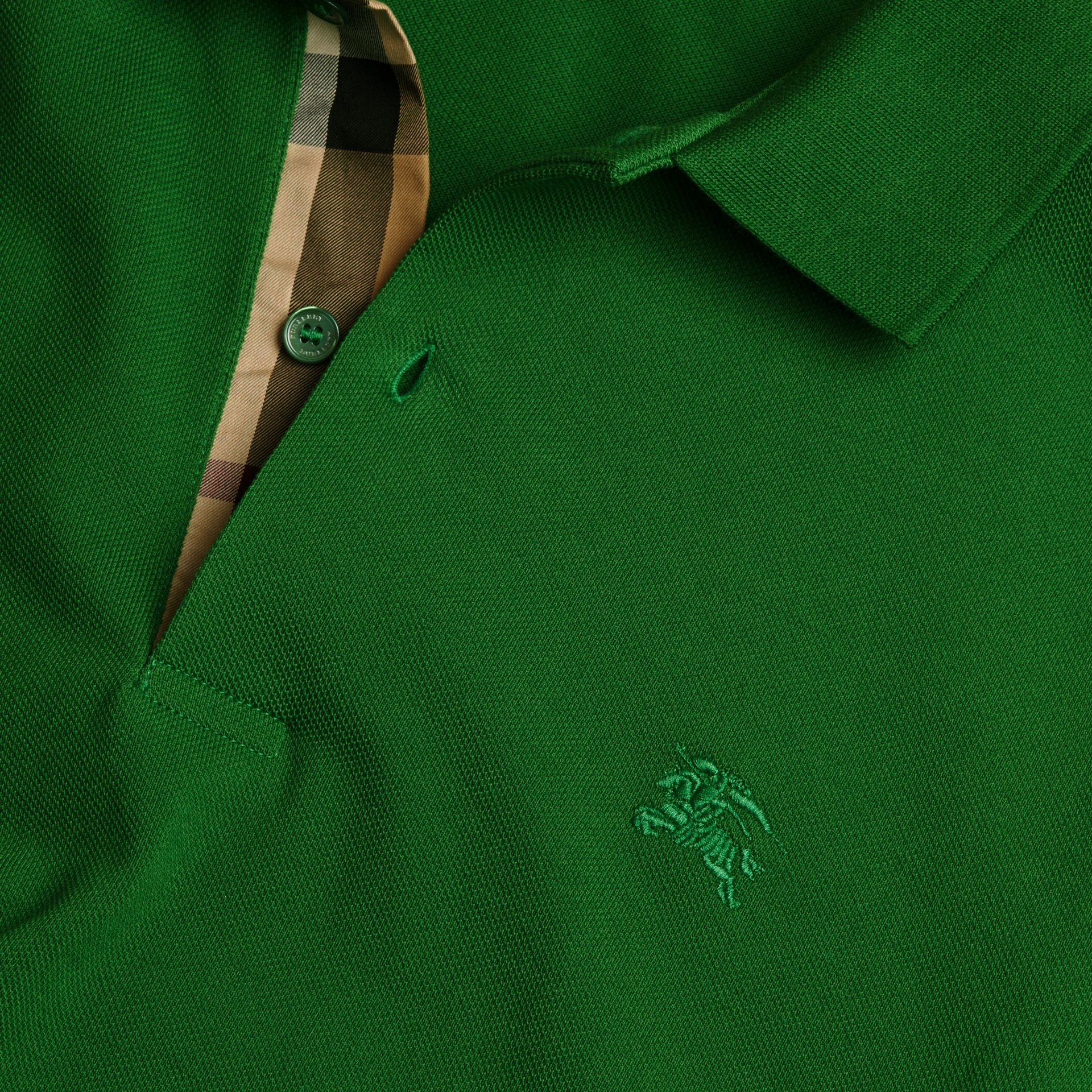 Check Placket Cotton Piqué Polo Shirt in Bright Fern Green - Men | Burberry - gallery image 2