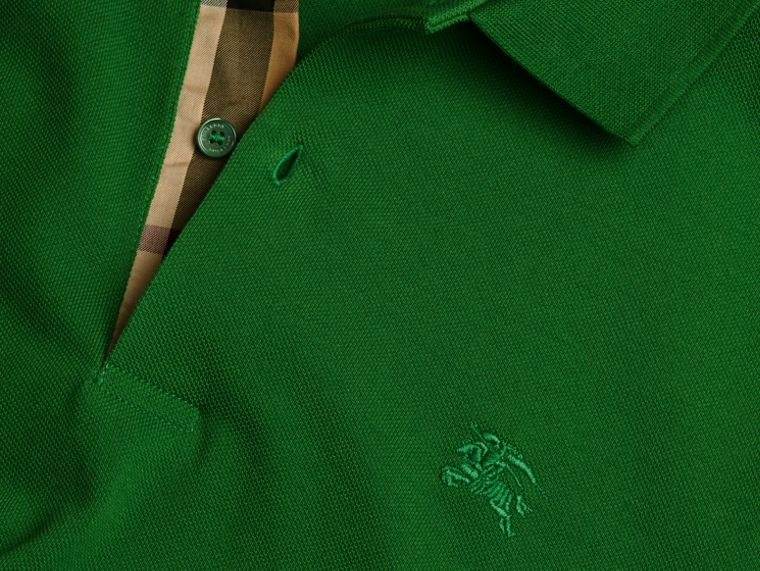 Check Placket Cotton Piqué Polo Shirt in Bright Fern Green - Men | Burberry United Kingdom - cell image 1