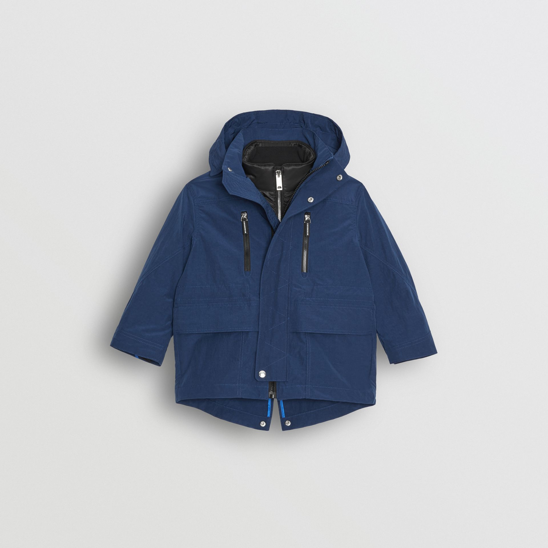 Hooded Parka with Down-filled Quilted Jacket in Bright Navy - Children | Burberry - gallery image 0