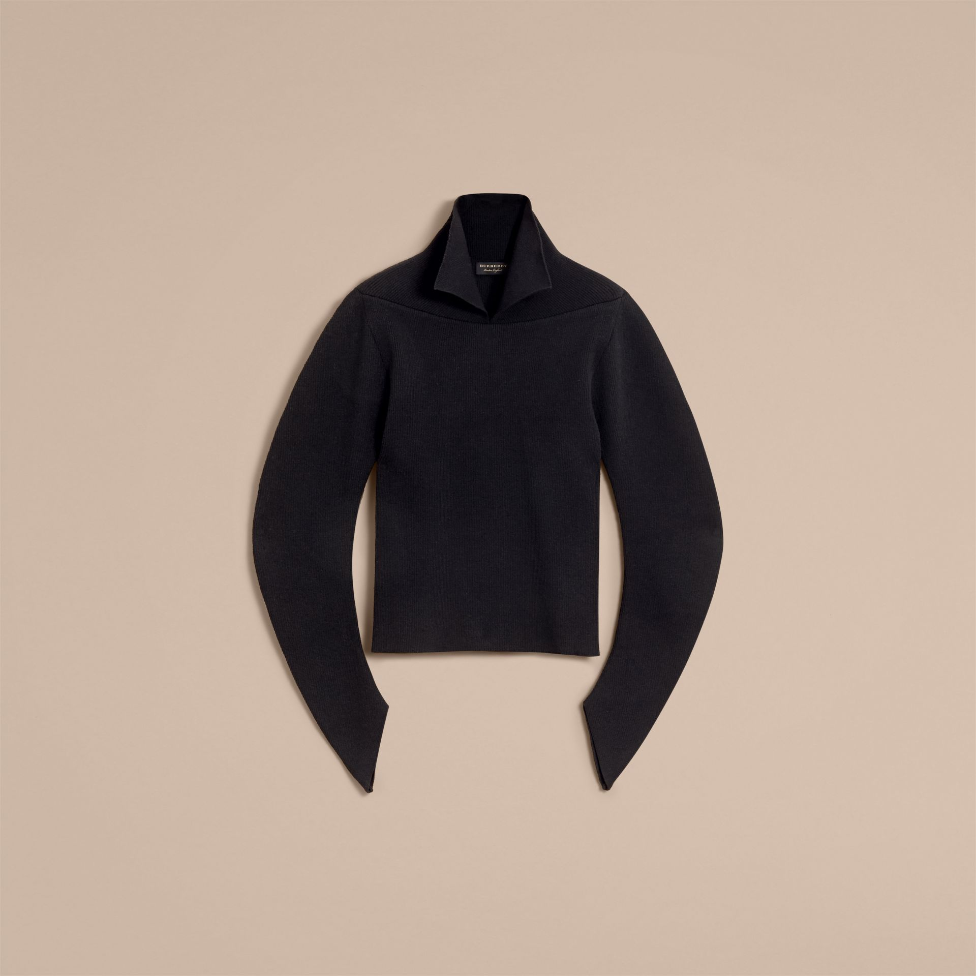 Rib Knit Compact Wool Blend Sculptural Sweater in Black - Men | Burberry - gallery image 4