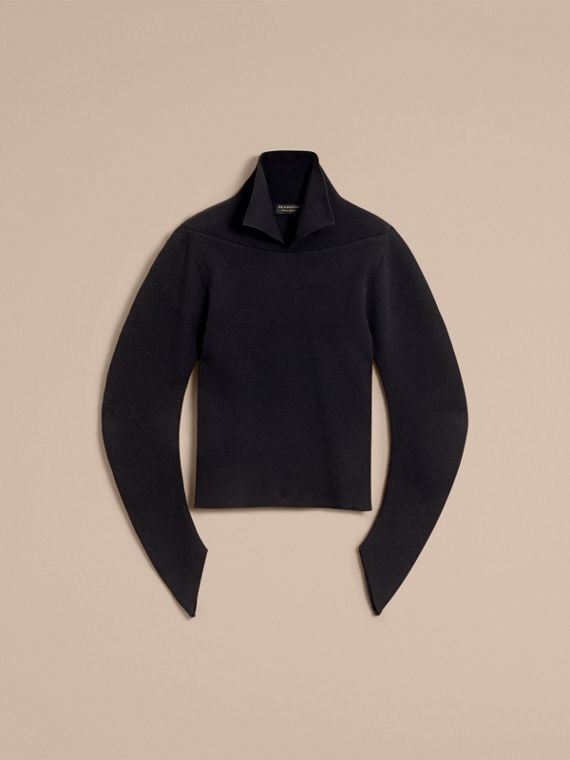 Rib Knit Compact Wool Blend Sculptural Sweater in Black - Men | Burberry - cell image 3