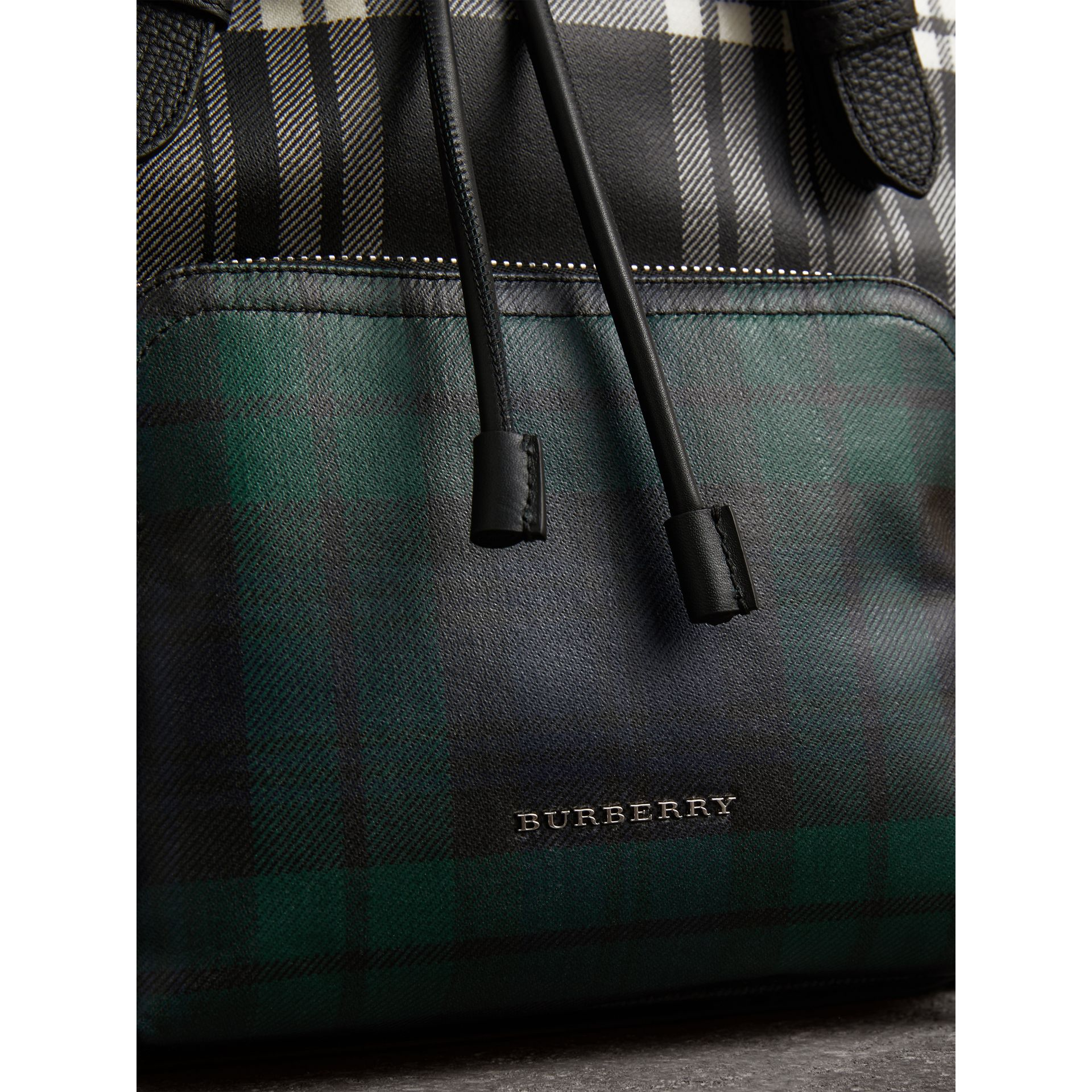 The Medium Rucksack in Laminated Tartan in Black/white - Women | Burberry United Kingdom - gallery image 1
