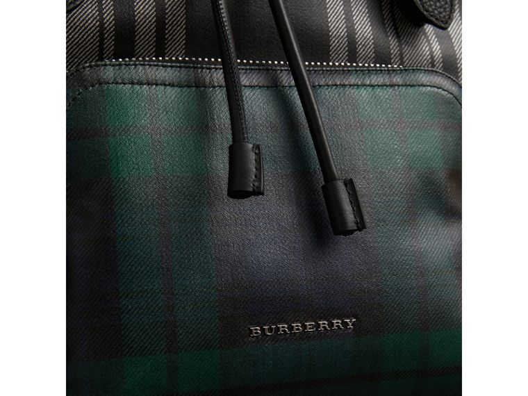 The Medium Rucksack in Laminated Tartan in Black/white - Women | Burberry Australia - cell image 1