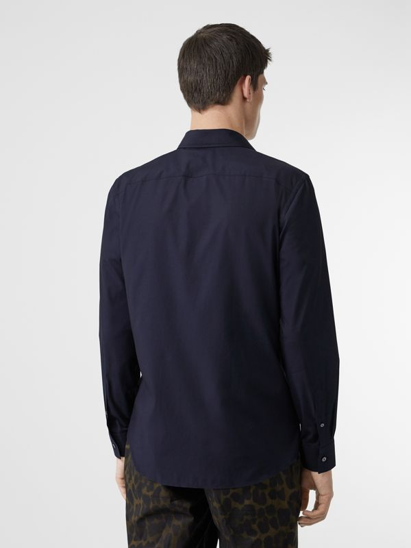 Monogram Motif Stretch Cotton Poplin Shirt in Navy - Men | Burberry - cell image 2
