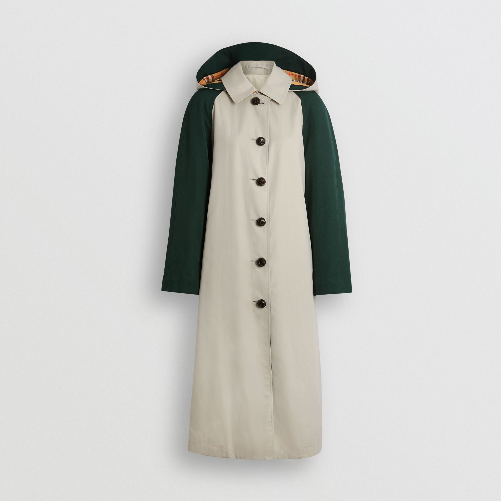 Detachable Hood Wool and Cotton Gabardine Car Coat in Stone - Women | Burberry Singapore - gallery image 3