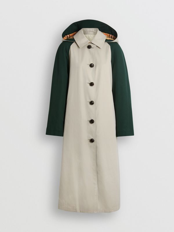 Detachable Hood Wool and Cotton Gabardine Car Coat in Stone - Women | Burberry Singapore - cell image 3