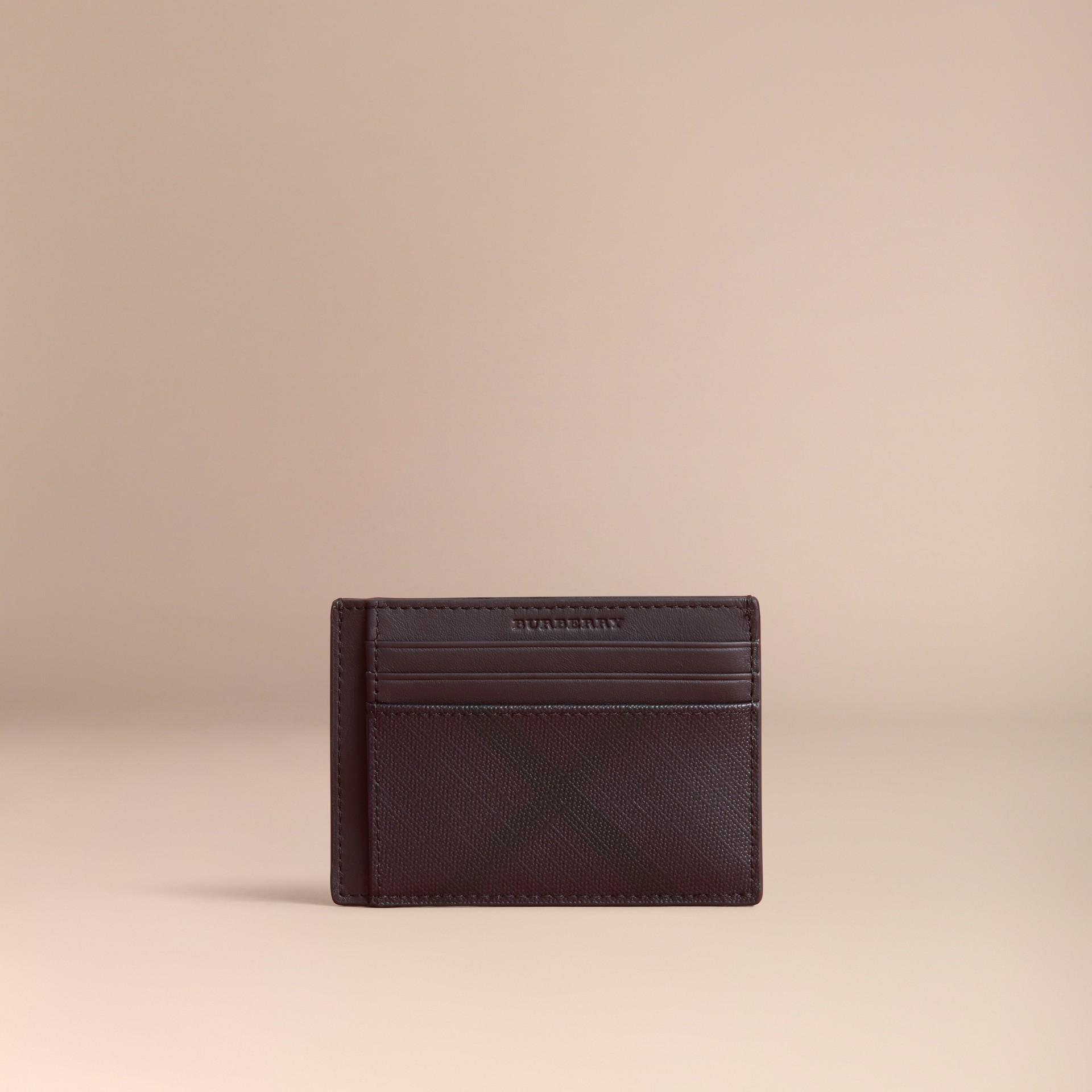 London Check Money Clip Card Case in Deep Claret - Men | Burberry - gallery image 5