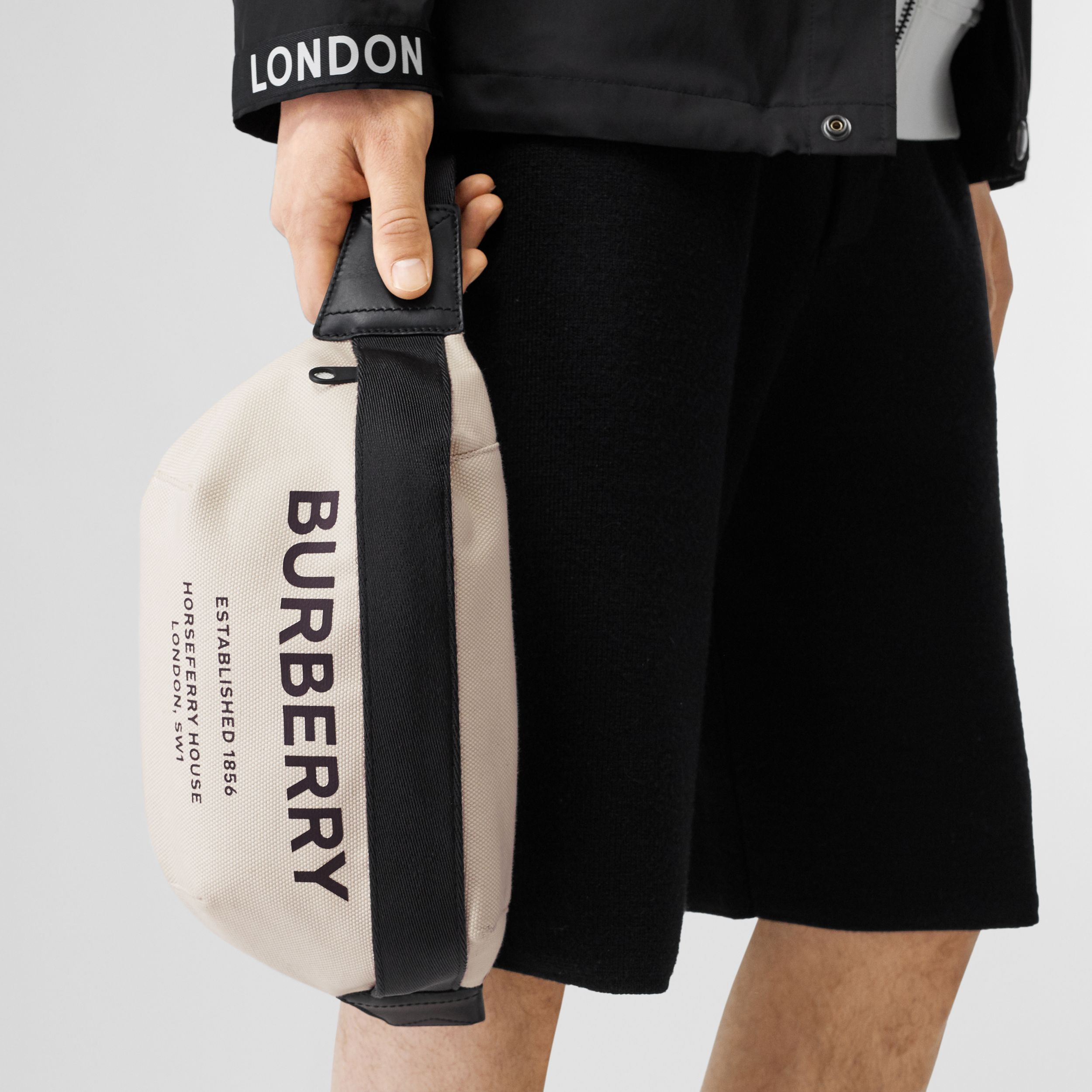 Medium Horseferry Print Cotton Canvas Bum Bag in Natural/black | Burberry - 4