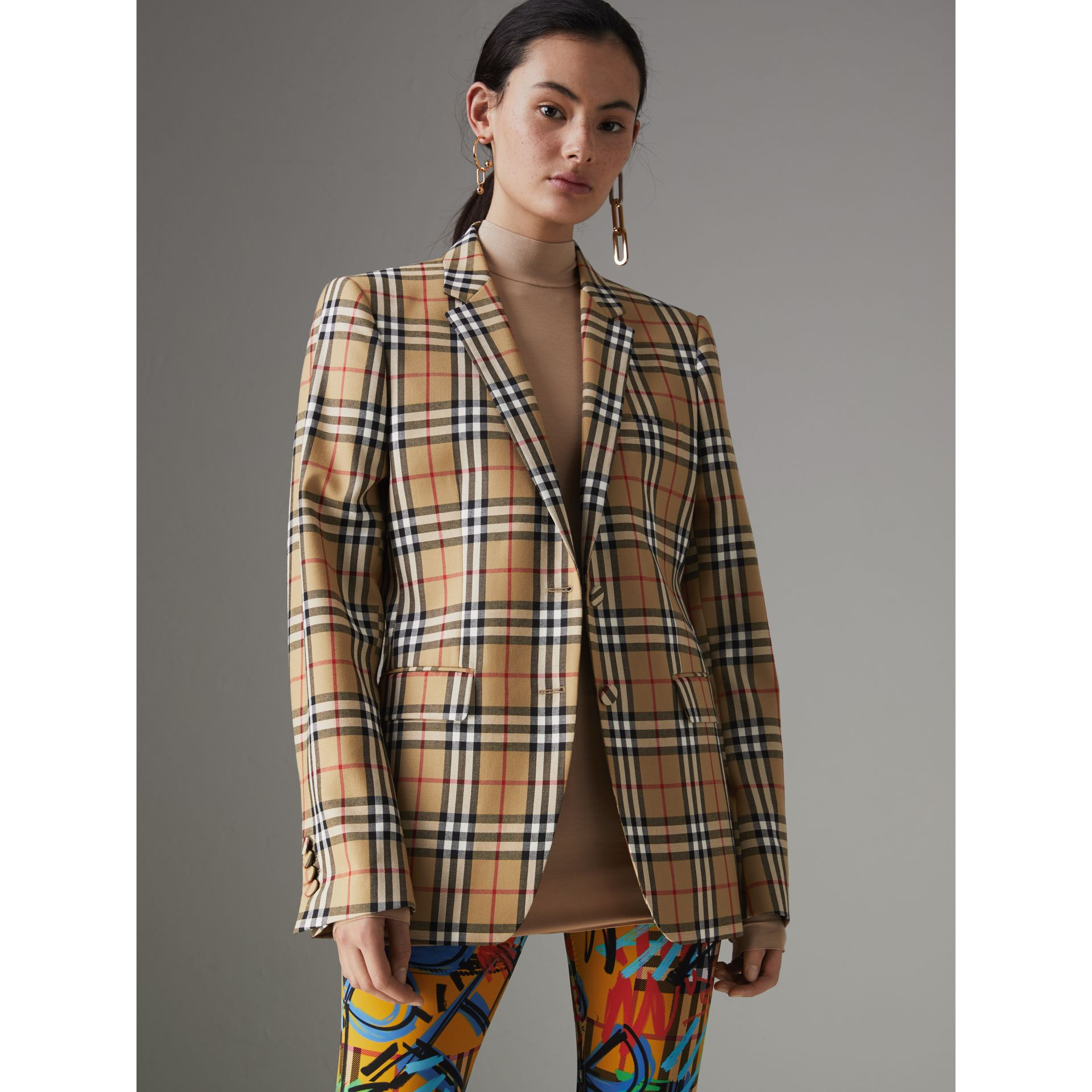 Vintage Check Wool Tailored Jacket in Antique Yellow - Women | Burberry - gallery image 5