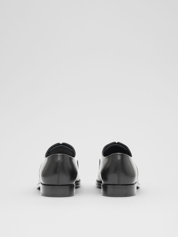 Tape Detail Leather Oxford Shoes in Black/optic White - Men | Burberry - cell image 3