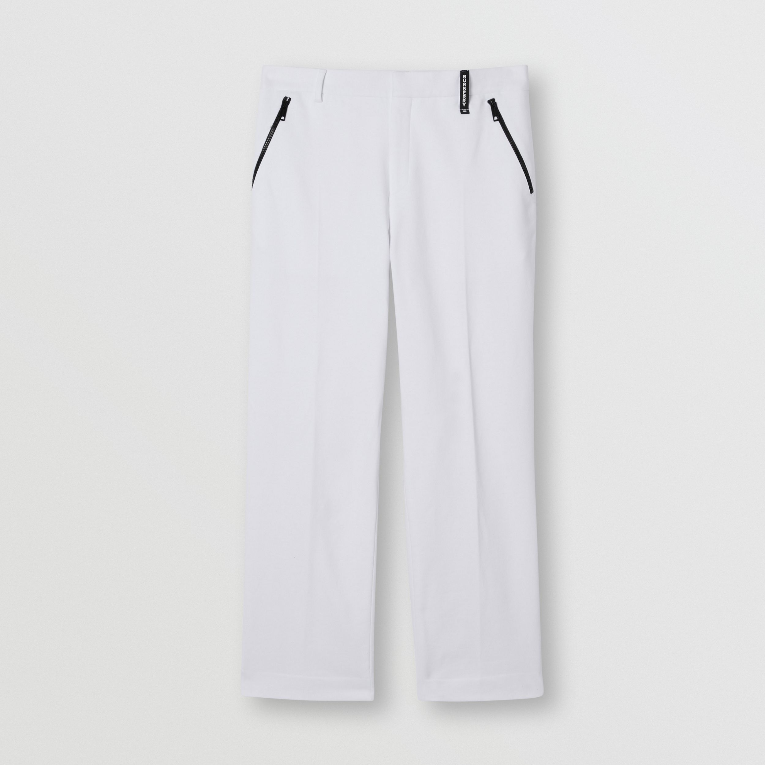 Cotton Jersey Wide-leg Tailored Trousers in Optic White - Men | Burberry - 4