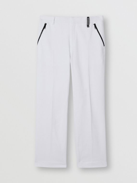 Cotton Jersey Wide-leg Tailored Trousers in Optic White