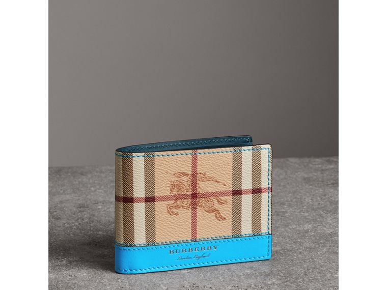 Haymarket Check and Leather Bifold Wallet in Bright Blue - Men   Burberry United States - cell image 4